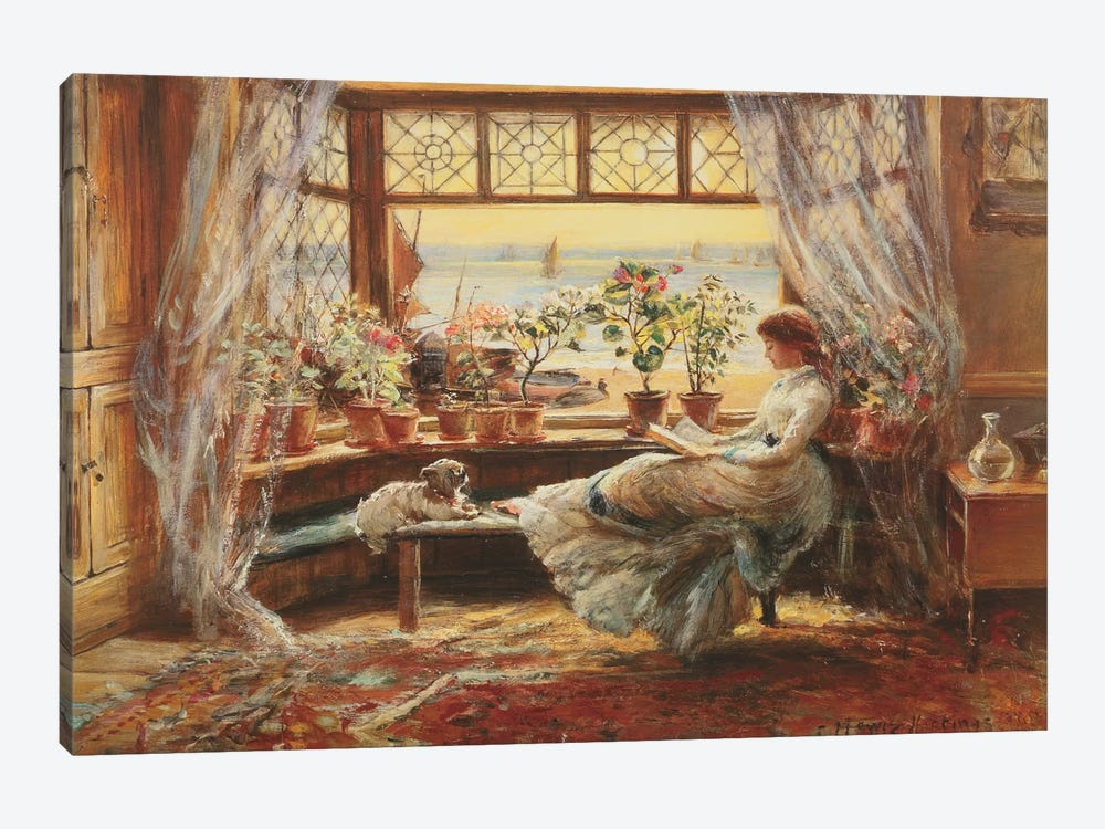 Reading By The Window, Hasti by Charles James Lewis 1-piece Canvas Artwork