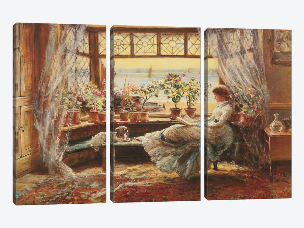 Reading By The Window, Hasti by Charles James Lewis 3-piece Canvas Wall Art