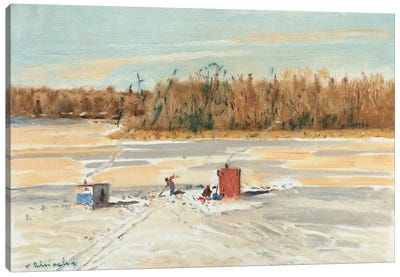 Ice Fishing Midday Canvas Art Print