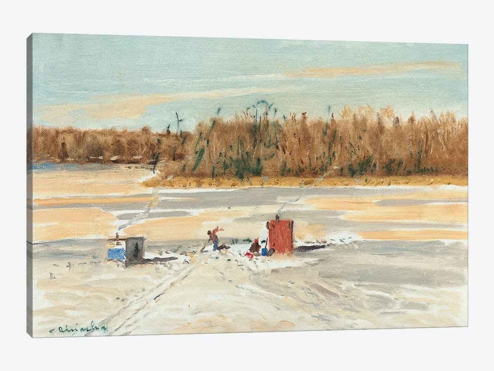 Ice Fishing Midday by Ernest Chiriacka 1-piece Canvas Art Print