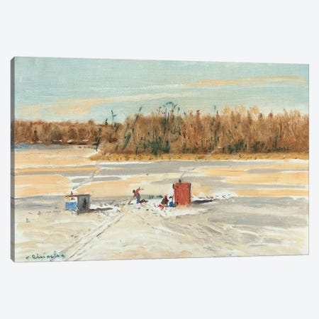 Ice Fishing Midday Canvas Print #CKA28} by Ernest Chiriacka Canvas Art Print