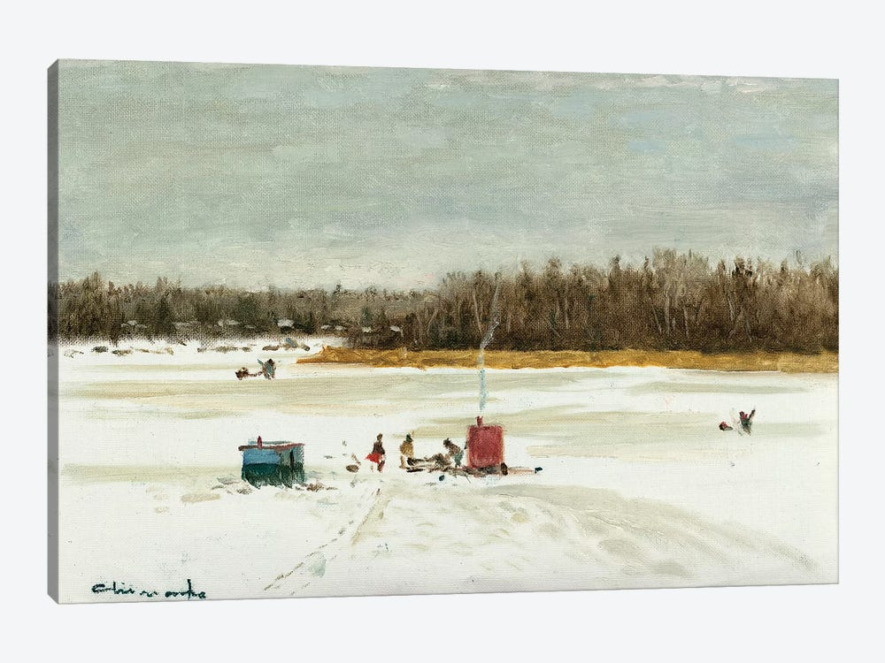 Ice Fishing Morning by Ernest Chiriacka 1-piece Canvas Art