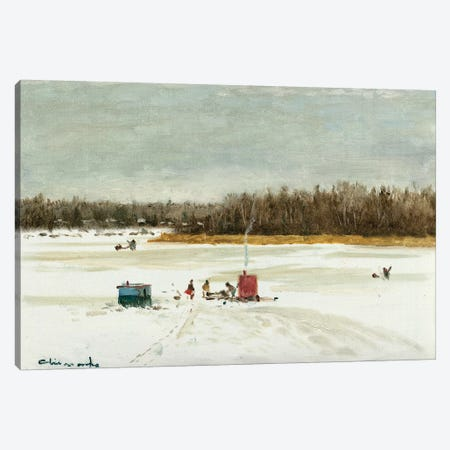 Ice Fishing Morning Canvas Print #CKA29} by Ernest Chiriacka Art Print