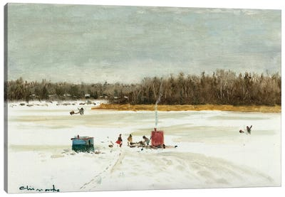 Ice Fishing Morning Canvas Art Print