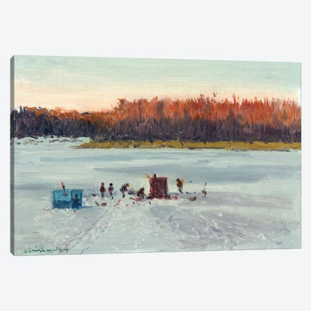Ice Fishing Sunset Canvas Print #CKA30} by Ernest Chiriacka Canvas Wall Art