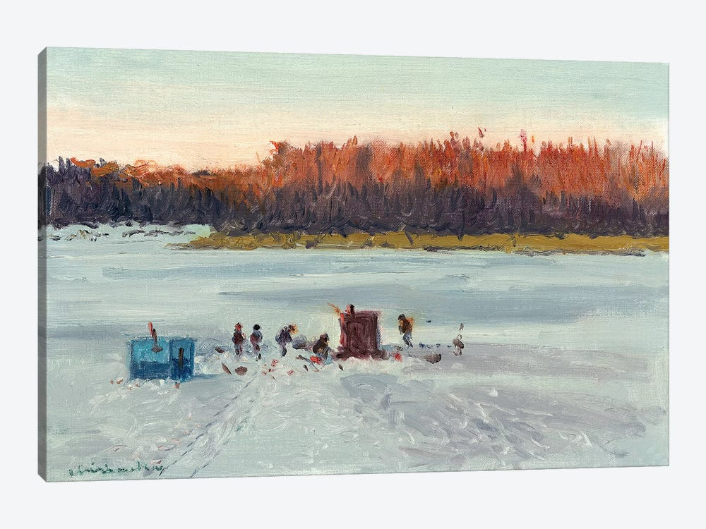 Ice Fishing Sunset by Ernest Chiriacka 1-piece Canvas Art