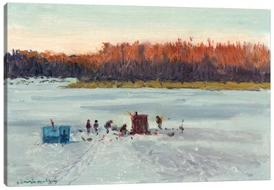Ice Fishing Sunset Canvas Art Print