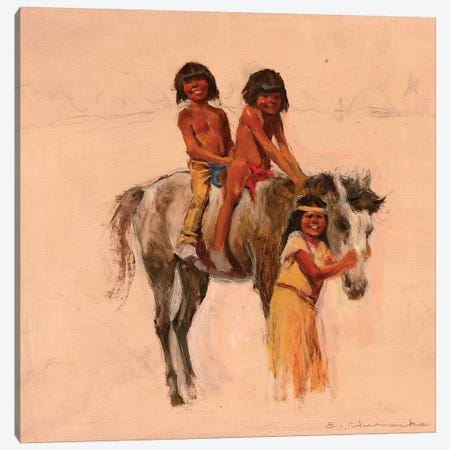 Native American Children With Pony Canvas Print #CKA35} by Ernest Chiriacka Art Print