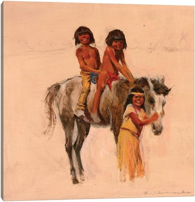 Native American Children With Pony Canvas Art Print