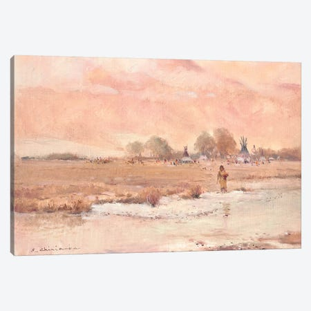 Native American Village Canvas Print #CKA36} by Ernest Chiriacka Canvas Art Print