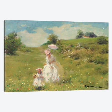 Picking Daisies Canvas Print #CKA40} by Ernest Chiriacka Art Print