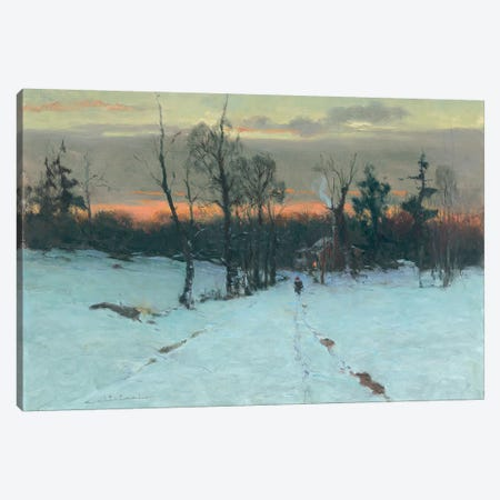 Red Hat Snow Scene Canvas Print #CKA48} by Ernest Chiriacka Art Print