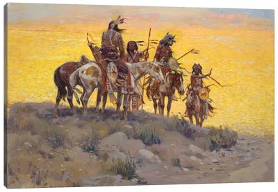 Scouts Along The Prairie Canvas Art Print