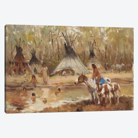 Sioux Camp Canvas Print #CKA56} by Ernest Chiriacka Canvas Art Print