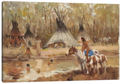 Sioux Camp Canvas Art Print