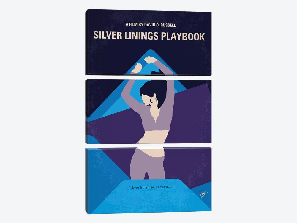 Silver Linings Playbook Minimal Movie Poster by Chungkong 3-piece Canvas Wall Art