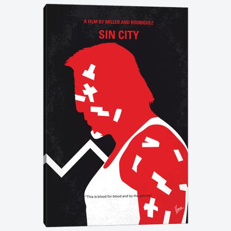 Sin City Minimal Movie Poster Canvas Print #CKG1003} by Chungkong Canvas Artwork