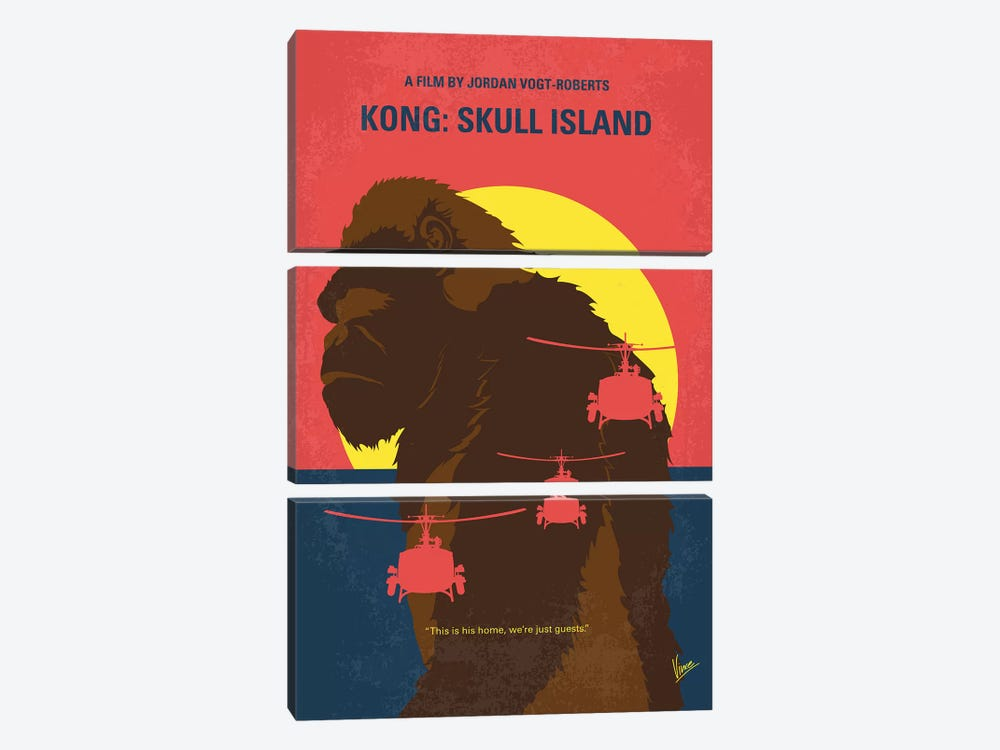 Skull Island Minimal Movie Poster by Chungkong 3-piece Canvas Art Print