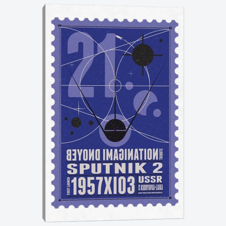 Starships 21 Postage Stamp Sputnik 2 Canvas Print #CKG1015} by Chungkong Canvas Artwork
