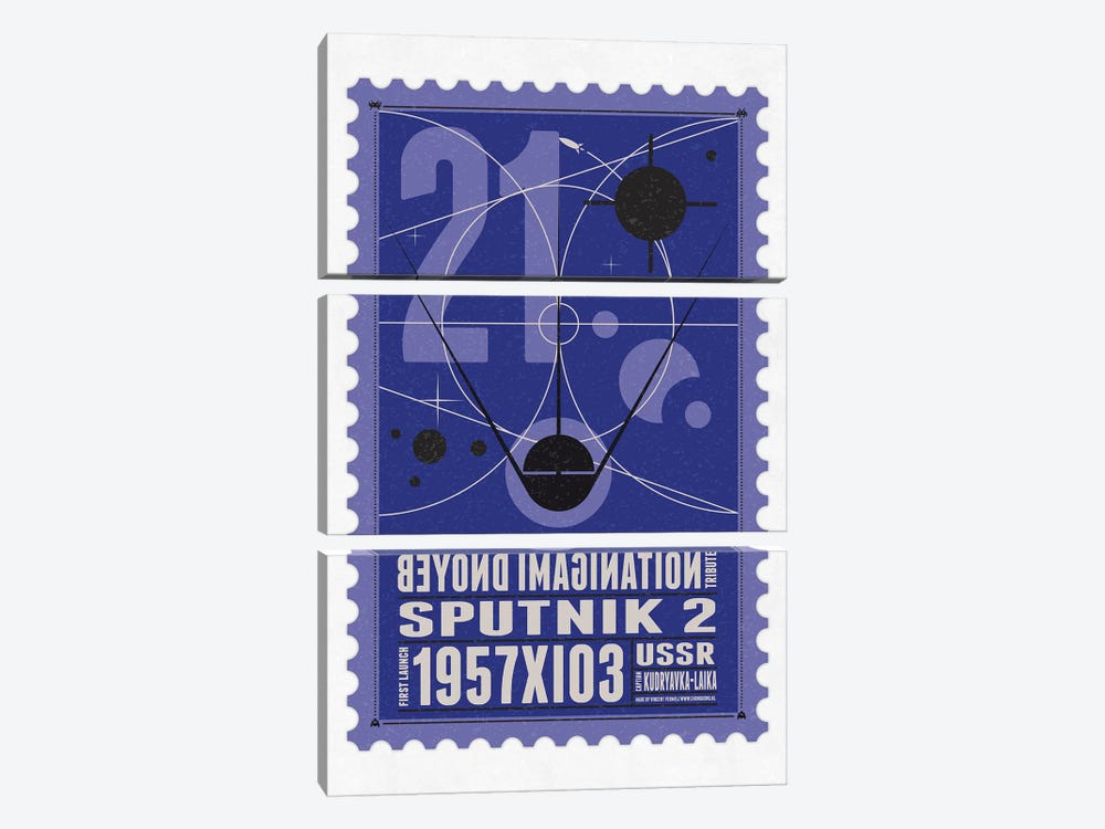 Starships 21 Postage Stamp Sputnik 2 by Chungkong 3-piece Canvas Print