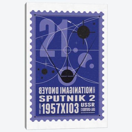 Starships 21 Postage Stamp Sputnik 2 Canvas Print #CKG1015} by Chungkong Canvas Artwork