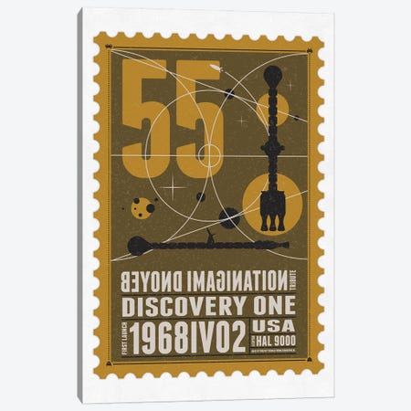 Starships 55 Postage Stamp Discovery One Canvas Print #CKG1017} by Chungkong Canvas Wall Art