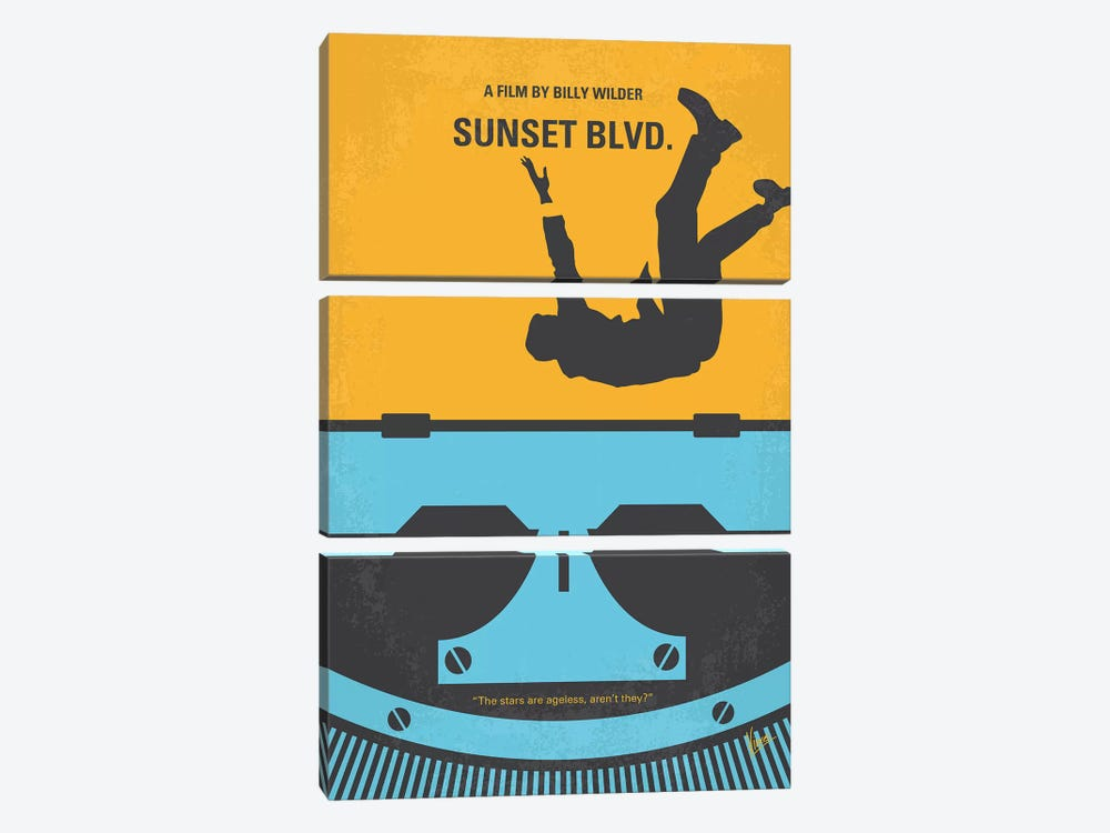 Sunset Blvd. Minimal Movie Poster by Chungkong 3-piece Canvas Wall Art