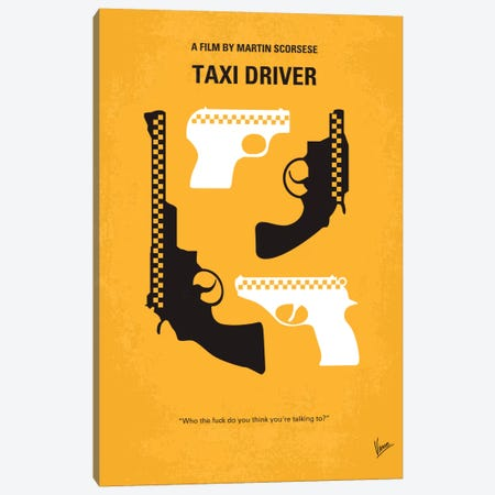 Taxi Driver Minimal Movie Poster Canvas Print #CKG102} by Chungkong Canvas Art