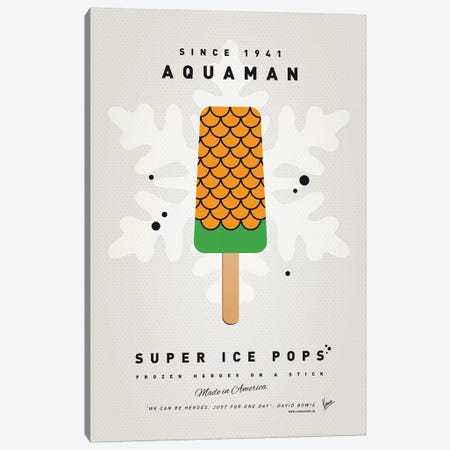 Superhero Ice Pop Aquaman Canvas Print #CKG1034} by Chungkong Canvas Wall Art