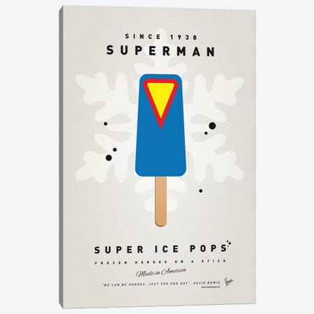 Superhero Ice Pop Superman Canvas Print #CKG1038} by Chungkong Art Print