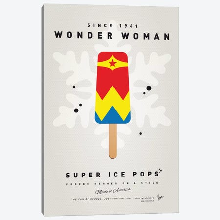 Superhero Ice Pop Wonder Woman Canvas Print #CKG1041} by Chungkong Canvas Wall Art