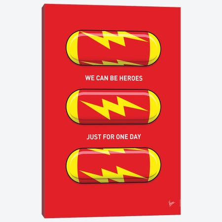 Superhero Pills The Flash Canvas Print #CKG1044} by Chungkong Art Print