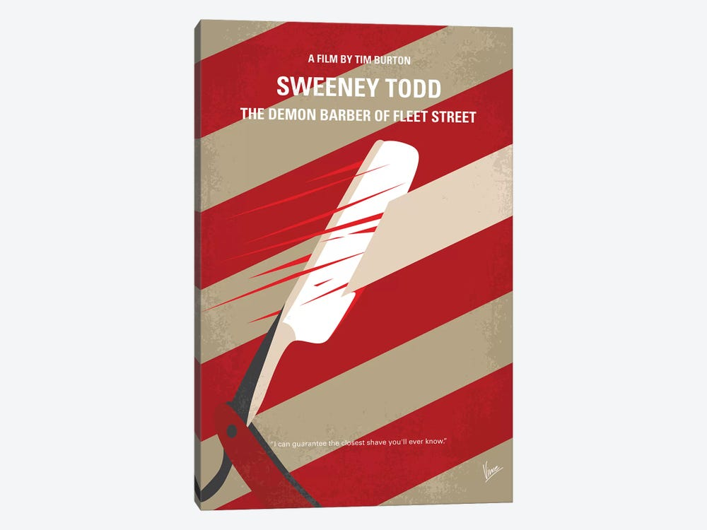 Sweeney Todd Minimal Movie Poster by Chungkong 1-piece Canvas Wall Art