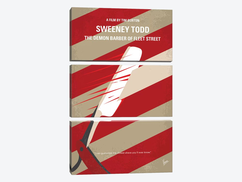Sweeney Todd Minimal Movie Poster by Chungkong 3-piece Canvas Artwork