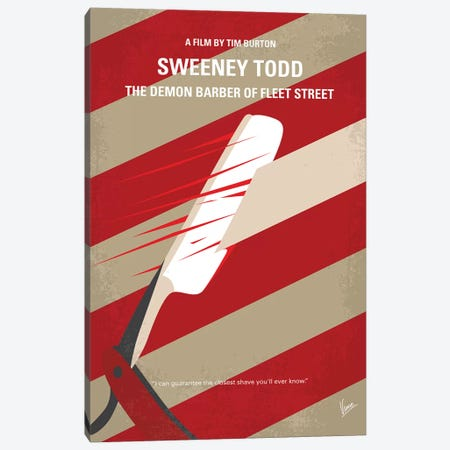 Sweeney Todd Minimal Movie Poster 3-Piece Canvas #CKG1045} by Chungkong Art Print