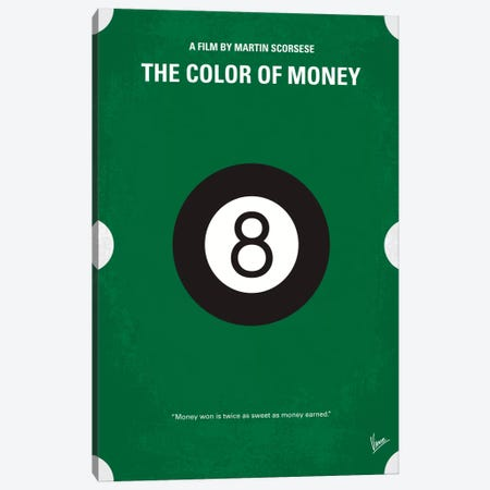 The Color Of Money Minimal Movie Poster Canvas Print #CKG104} by Chungkong Canvas Art Print