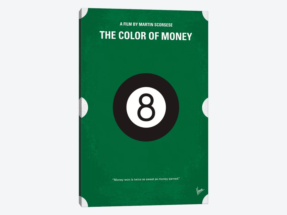 The Color Of Money Minimal Movie Poster by Chungkong 1-piece Canvas Wall Art