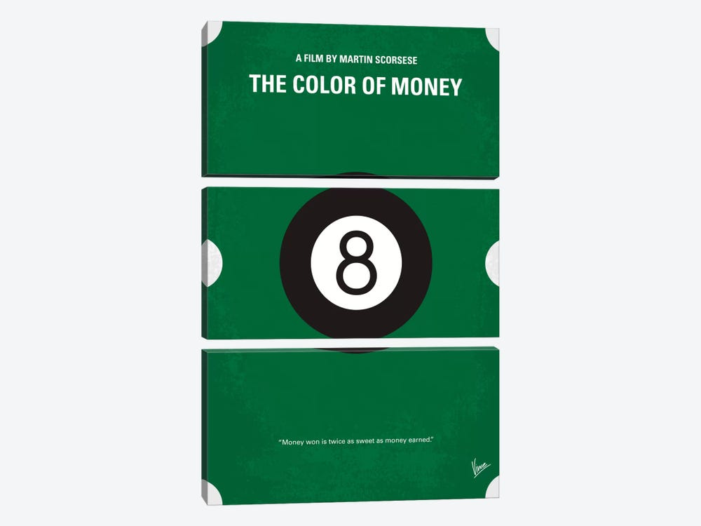 The Color Of Money Minimal Movie Poster by Chungkong 3-piece Canvas Art