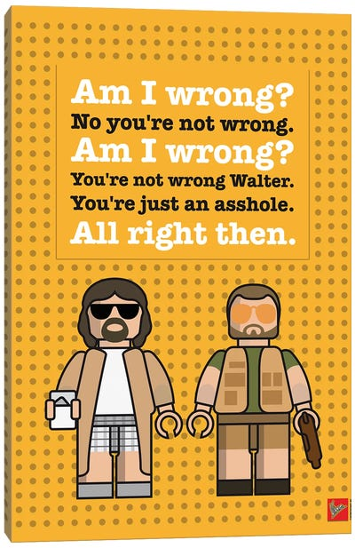 The Big Lebowski Lego Dialogue Poster Canvas Art Print