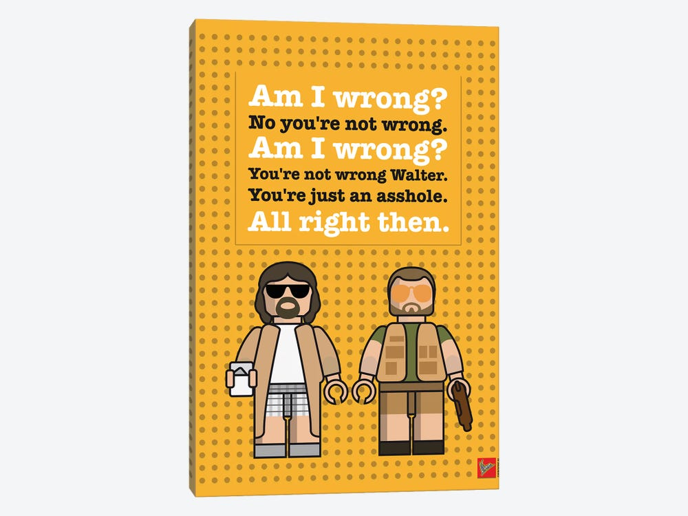 The Big Lebowski Lego Dialogue Poster by Chungkong 1-piece Canvas Print