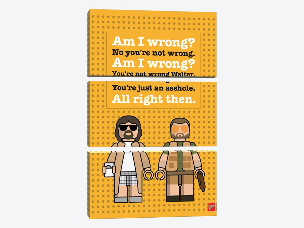 The Big Lebowski Lego Dialogue Poster by Chungkong 3-piece Canvas Art Print