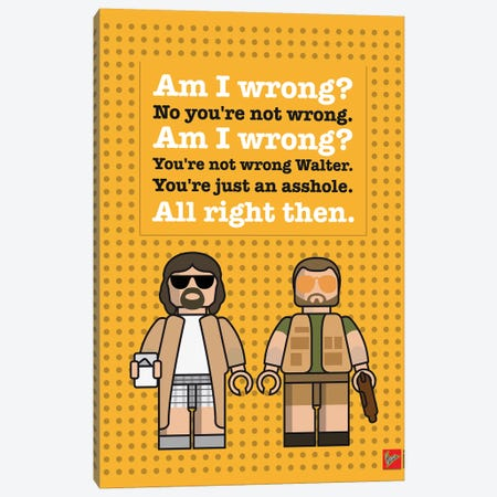 The Big Lebowski Lego Dialogue Poster Canvas Print #CKG1053} by Chungkong Canvas Art Print