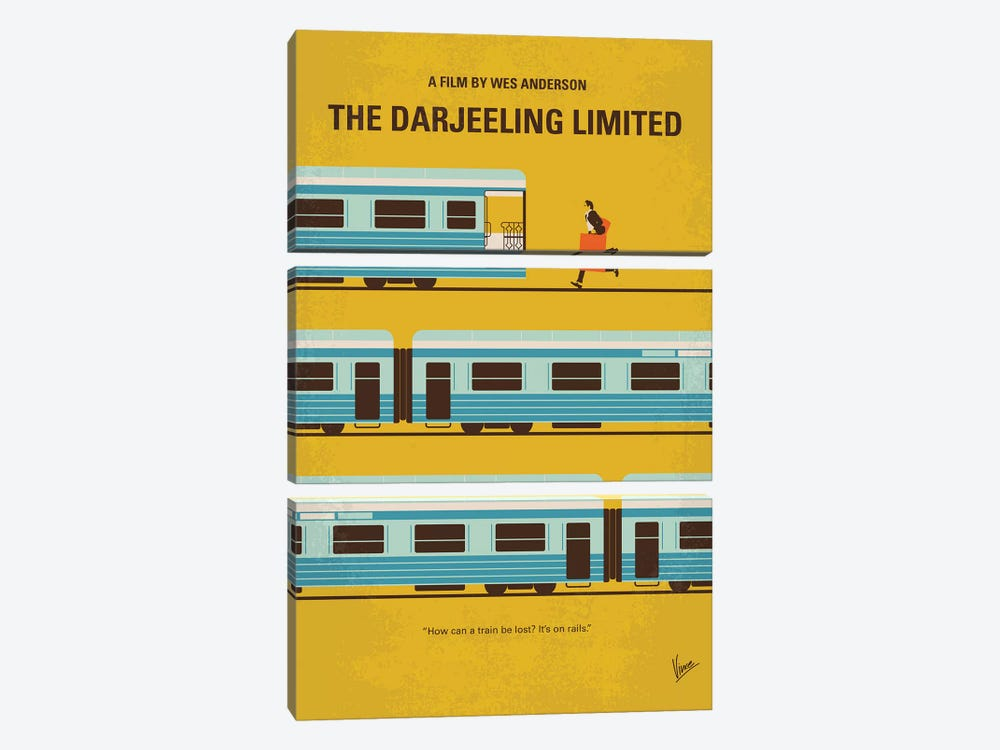 The Darjeeling Limited Minimal Movie Poster by Chungkong 3-piece Canvas Wall Art