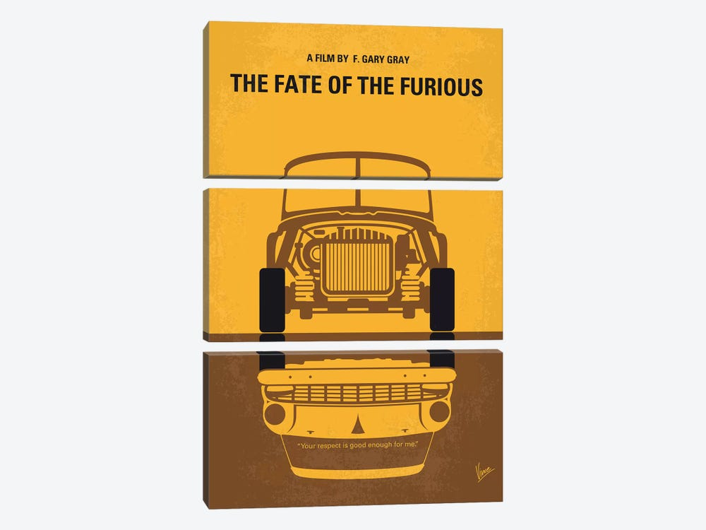 The Fate Of The Furious Minimal Movie Poster by Chungkong 3-piece Canvas Artwork