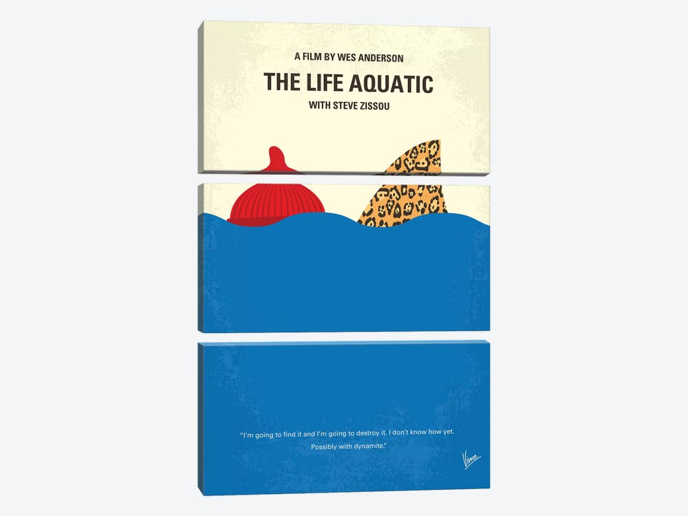 The Life Aquatic With Steve Zissou Minimal Movie Poster by Chungkong 3-piece Canvas Art Print