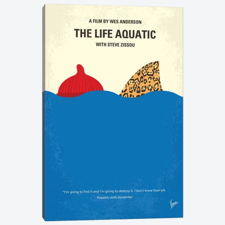 The Life Aquatic With Steve Zissou Minimal Movie Poster Canvas Print #CKG1062} by Chungkong Canvas Wall Art