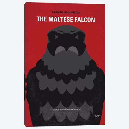 The Maltese Falcon Minimal Movie Poster Canvas Print #CKG1063} by Chungkong Canvas Artwork