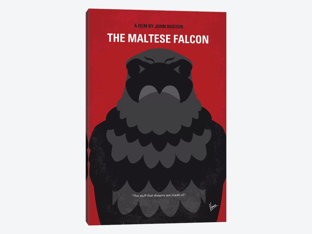 The Maltese Falcon Minimal Movie Poster by Chungkong 1-piece Canvas Art