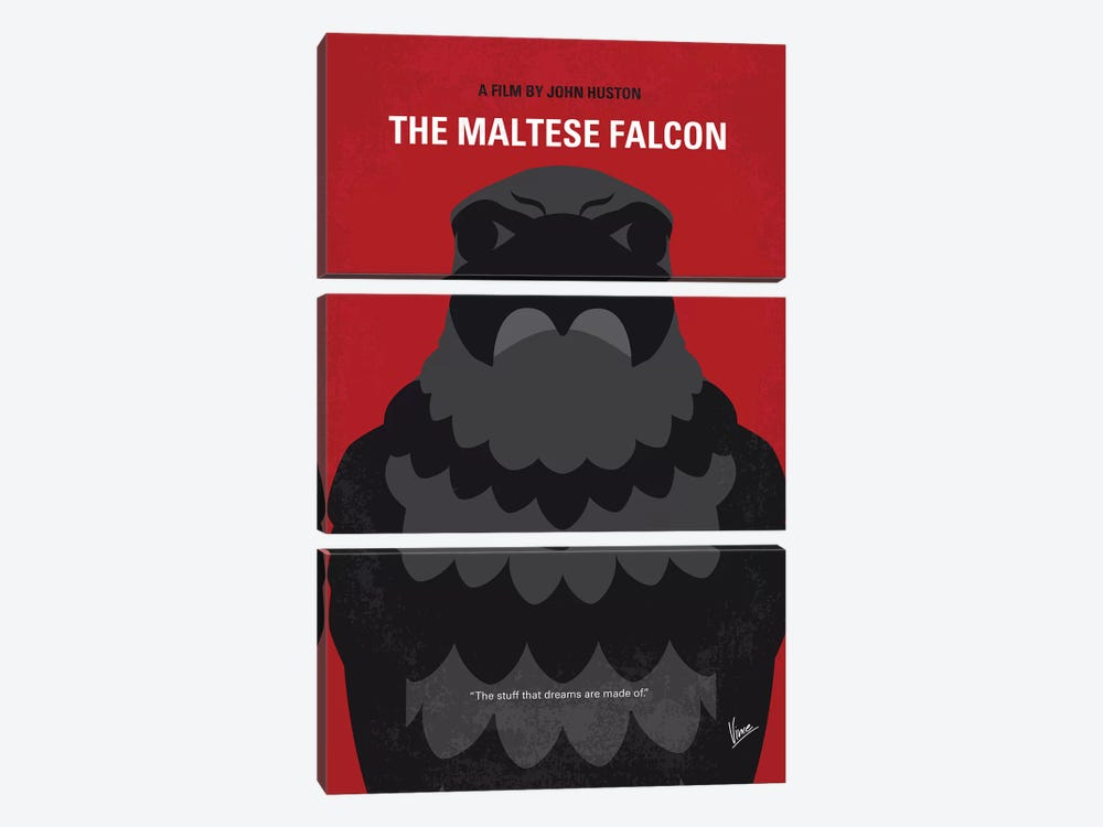 The Maltese Falcon Minimal Movie Poster by Chungkong 3-piece Canvas Wall Art