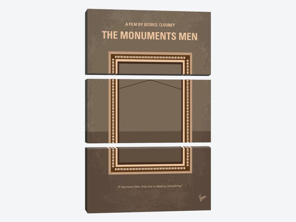 The Monuments Men Minimal Movie Poster by Chungkong 3-piece Canvas Wall Art